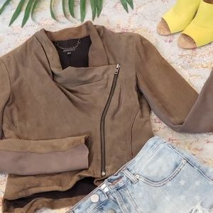 Muubaa Goat Leather Asymmetric Zipper Jacket
